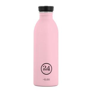 Trinkflasche mit Schraubdeckel aus Edelstahl von 24Bottles - Modell soft candy pink.
