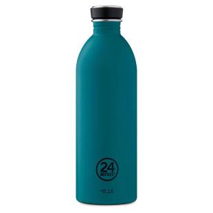 24Bottles Design Trinkflasche 1 L URBAN aus Edelstahl, petrol - stone atlantic bay - Frontalansicht
