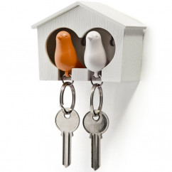 Schl�sselanh�nger / Vogelhaus 'Sparrow Duo Key Ring' wei�/orange