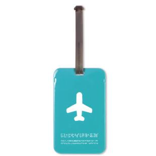 Blauer Kofferanhänger mit Einschub auf der Rückseite - Happy Flight Square Luggage Tag von ALife Design.