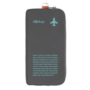 Etui mit Reißverschluss von Alife Design - ZIPURSE für Dokumente, Pass... Happy Flight, grau