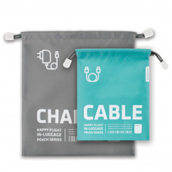 Zugbeutel Happy Flight 2er-Set, Charger & Cable, grau/türkis