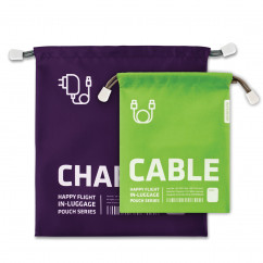 Zugbeutel Happy Flight 2er-Set, Charger & Cable - violett/grün