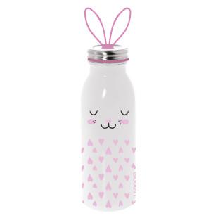 Doppelwandige Thermosflasche BUNNY (Hase) in rosa-weiß aus Edelstahl mit Hasenohren-Tragegriff von aladdin Design. Aus der Trinkflaschen-Serie ZOO.