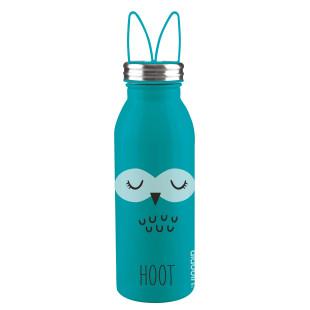 Doppelwandige, türkisblaue Thermosflasche OWL (Eule) aus Edelstahl mit Ohren-Tragegriff von aladdin Design. Aus der Trinkflaschen-Serie ZOO.