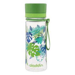 Grüne Trinkflasche 0,35 Liter mit Blätter-Print von aladdin. Modell AVEO WATER BOTTLE. Aus Tritan Kunststoff.
