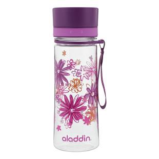 Superleichte, robuste und auslaufsichere Trinkflasche AVEO violett Flowers von aladdin design. Perfekt für Kinder und Erwachsene!