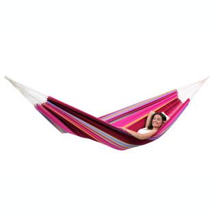 Amazonas Hängematte XL Barbados Grenadine - große Tuchhängematte bunt gestreift in roten und rosa Tönen