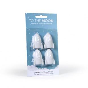 4 kleine Raketen-Magnete TO THE MOON in hellgrau aus dem Atelier Pierre.