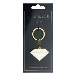 Design Schlüsselanhänger DIAMANT von Black Jaguar. Weißer Diamant aus Emaille mit Goldumrandungen.
