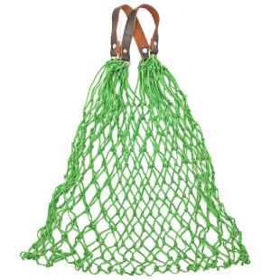 Stabiles Einkaufsnetz in grün von CEDON. Retro Einkaufsnetz mit Lederhenkel.