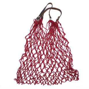 Stabiles Einkaufsnetz in rot von CEDON. Retro Einkaufsnetz mit Lederhenkel.