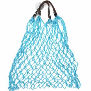 Stabiles Einkaufsnetz in türkisblau von CEDON. Retro Einkaufsnetz mit Lederhenkel.