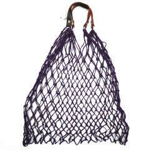 Stabiles Einkaufsnetz in lila von CEDON. Retro Einkaufsnetz violett mit Lederhenkel.