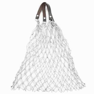 Stabiles Einkaufsnetz in weiß von CEDON. Handgenüpftes Retro Einkaufsnetz mit Lederhenkel.