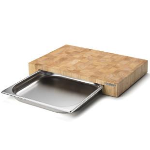 Schneidebrett Stirnholz mit Edelstahl Schublade 48 x 32,5 cm