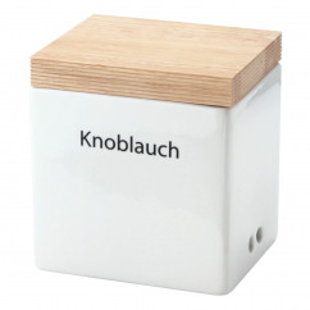 Vorratsdose Keramik mit Holzdeckel und Klebebeschriftung 14 x 12 x H 15,5 cm
