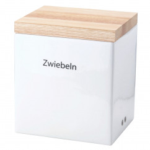 Vorratsdose Keramik mit Holzdeckel und Klebebeschriftung 18 x 15,5 x H 20,5 cm