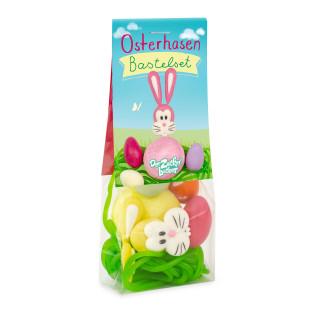 Zuckersüßer Bastelspaß zu Ostern! Osternest zum selber Basteln aus Süßigkeiten. Osterhasen Bastelset von Der Zuckerbäcker.