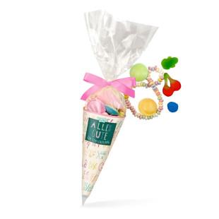 Schultüte mit rosa Schleife - bunte Mischung an Süßigkeiten. Zuckertüte Einschulung für Mädchen. Naschbeutel für 1. Schultag.