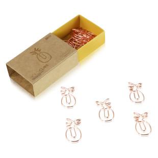 Designmanufaktur Berlin Büroklammern ANANAS in gold rosé. 15 GOLDCLIPS Büroklammern in der Geschenkschachtel