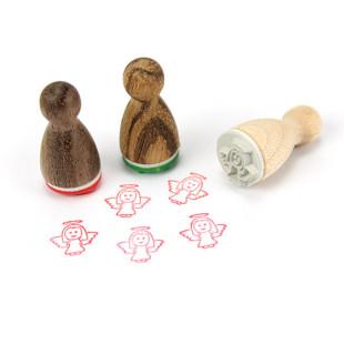 Mini Holzstempel Engel aus der Designmanufaktur Berlin. Der Schutzengel Ministempel Elli Engel stammt aus der Serie Stemplino.