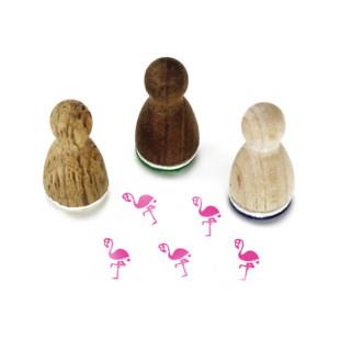 Mini Holzstempel Flamingo aus der Designmanufaktur Berlin. Der Ministempel aus Holz FLAVIO FLAMINGO aus der Serie Stemplino.