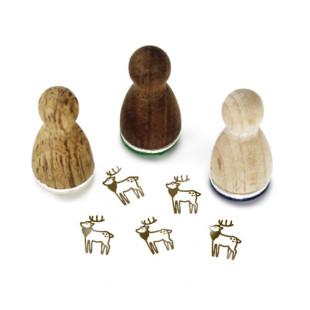 Mini Holzstempel Holly Hirsch aus der Designmanufaktur Berlin. Der Ministempel mit weihnachtlichem Motiv aus der Serie Stemplino.