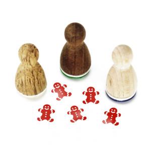 Mini Holzstempel Lebkuchenmann aus der Designmanufaktur Berlin. Der Ministempel mit weihnachtlichem Motiv aus der Serie Stemplino.