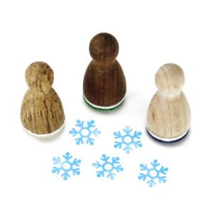 Mini Holzstempel Schneeflocke aus der Designmanufaktur Berlin. Der Ministempel mit weihnachtlichem Motiv aus der Serie Stemplino.