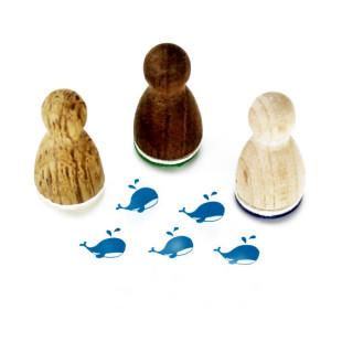 Mini Holzstempel Walfisch - Motivstempel Walther Wal - Designmanufaktur Berlin - Motivstempel aus Holz