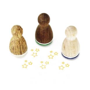 Mini Holzstempel kleine Sterne aus der Designmanufaktur Berlin. Der Ministempel mit Sternchen-Motiv aus der Serie Stemplino.