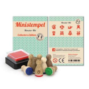 Monster Stempel Set - 8 Ministempel mit Monstern und Mini Stempelkissen - Monstermix Set aus der Designmanufaktur Berlin.