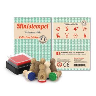 Weihnachtsstempel Set - 8 Ministempel mit Weihnachtsmotiven und Mini Stempelkissen - Weihnachtsmix Set aus der Designmanufaktur Berlin.