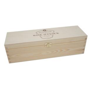 Flaschenverpackung Geschenkkiste Holz, Wine OClock + Gravur