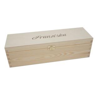 Flaschenkiste / Flaschenverpackung aus Holz mit Namensgravur. Weinkiste mit gravierten Klappdeckel für 1 Flasche. Personalisierte Weinbox Geschenkkiste Holz.