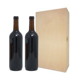 Weinkiste aus Holz mit Trennsteg für 2 Weinflaschen. Flaschenverpackung mit Klappdeckel. Holzbox Wein 2 Flaschen.