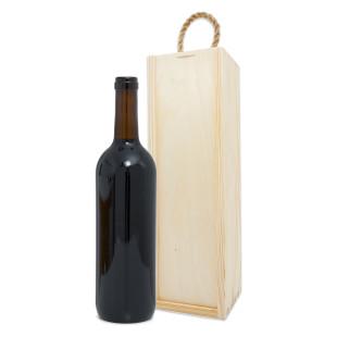 Flaschenverpackung / Holzkiste / Weinkiste mit Tragekordel für 1 Weinflasche - Wein Geschenkbox Holz