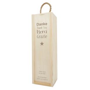 Geschenkbox aus Holz mit Dankeschön Gravur. Flaschenverpackung mit Gravur Danke. Weinflaschen Holzkisten graviert - DANKE!