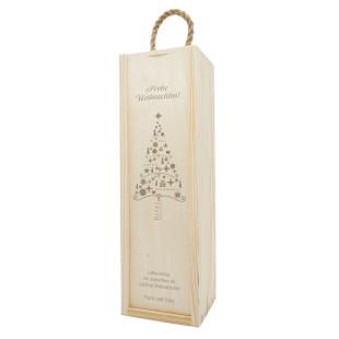 Frohe Weihnachten Geschenkbox aus Holz mit Gravur. XMAS Flaschenverpackung mit Gravur. Weinflaschen Holzkisten graviert - Merry Christmas. Weihnachtsgeschenk.