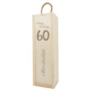 Geschenkbox aus Holz mit Gravur - Geburtstag. Flaschenverpackung Gravur Happy Birthday. Wein Holzkiste graviert! Geburtstagsgeschenk.