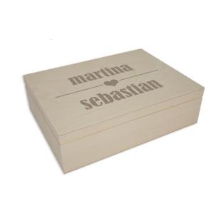 Geschenkverpackung Holzbox mit Gravur, Paare Herz