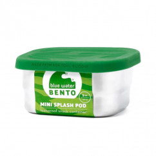 Mini Splash Pod von ECOlunchbox. Lunchdose aus Edelstahl mit auslaufsicheren Deckel. Eckige Snackdose. Lunchbox mit grünem Silikondeckel.