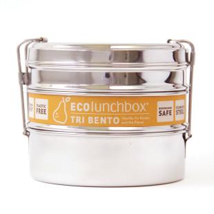 3-teilige, runde Lunchdose aus Edelstahl von ECOlunchbox - Modell TRI BENTO.