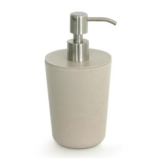 EKOBO Bambus Seifenspender stone. Moderner Flüssigkeitenspender BANO in beigegrau aus Melamin mit Bambusfaseranteil.