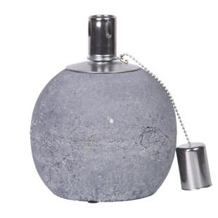 Runde Öllampe 13,6 cm aus Beton von esschert design. Kugel-Betonfackel für Lampenöl. Öllampe Betonkugel.