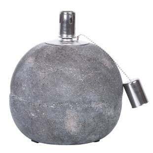 Runde Öllampe 18 cm aus Beton von esschert design. Kugel-Betonfackel für Lampenöl. Öllampe Betonkugel.