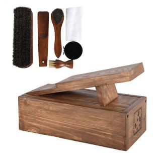 Schuhputz Set / Schuhputzkiste aus Holz mit Bürsten + Pflegewachs