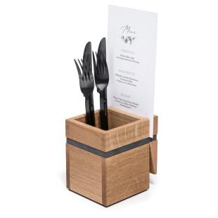 Besteckhalter mit Klammer + Silikonband anthrazit für Menükarte von FAIRWERK. Design Besteckhalter Holz - Werkstatt für behinderte Werkstätten.