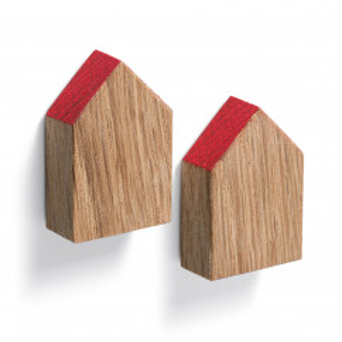 Magnethäuschen HOLD ME von FAIRWERK. Design Magnete - Häuser aus Eichenholz mit rotem Dach. Made in Germany - Behindertenwerkstatt.